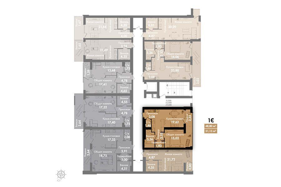 Квартира 1Є, секція 2, поверх 2-5