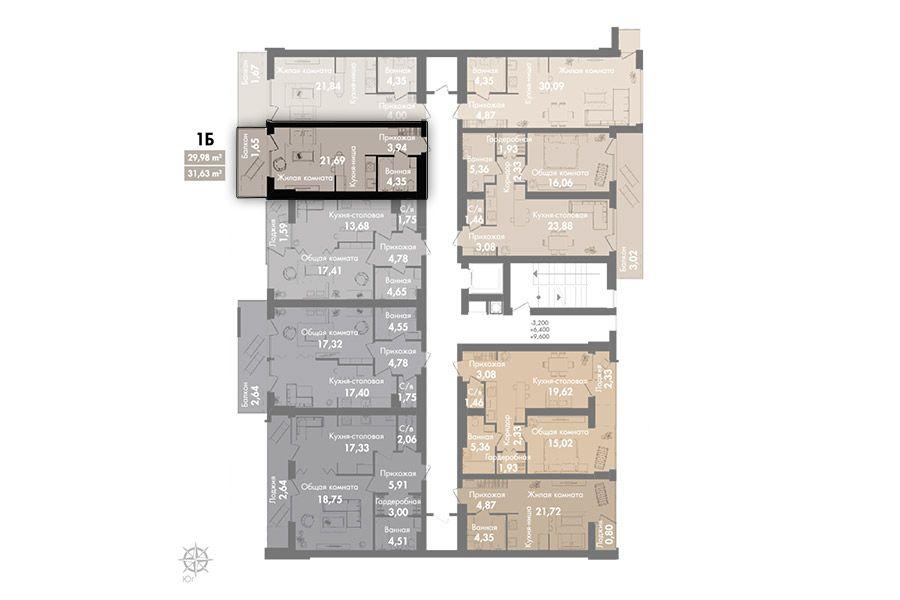 Квартира 1Б секція 3, поверх 2-5