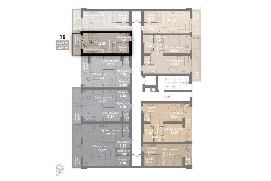 Квартира 1Б, секція 2, поверх 6