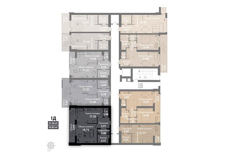 Квартира 1Д, секція 2, поверх 2-5