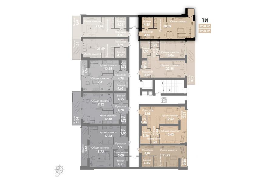 Квартира 1Ж, секция 2, этаж 2-5
