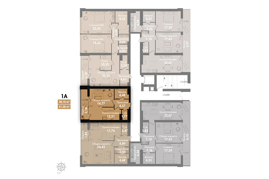 Квартира 1А, секція 3, поверх 7