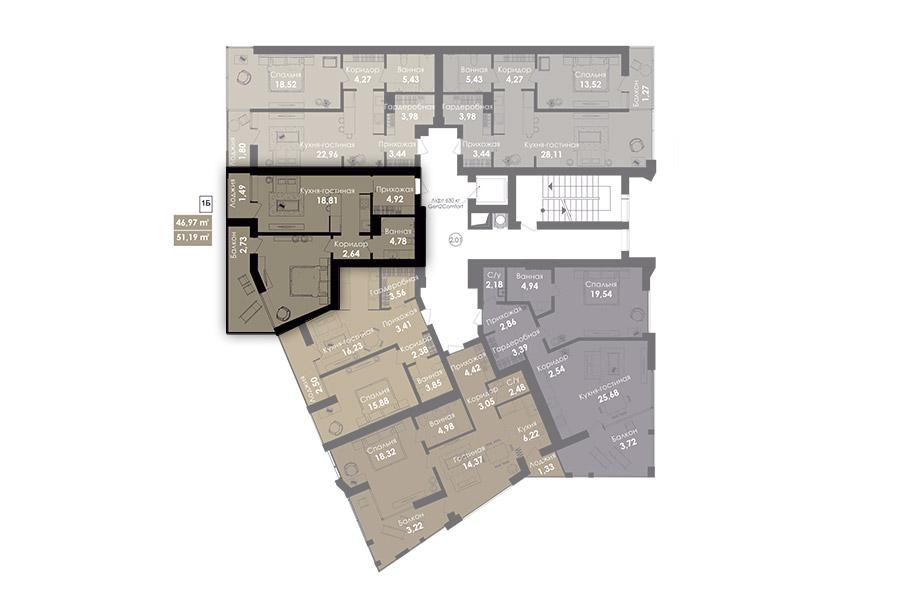 Квартира 1Б, секція 1, поверх 2-8