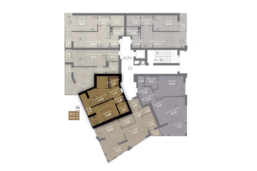 Квартира 1В, секція 1, поверх 2-8