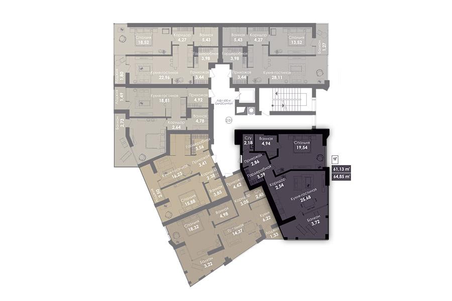 Квартира 1Г, секція 1, поверх 2-8
