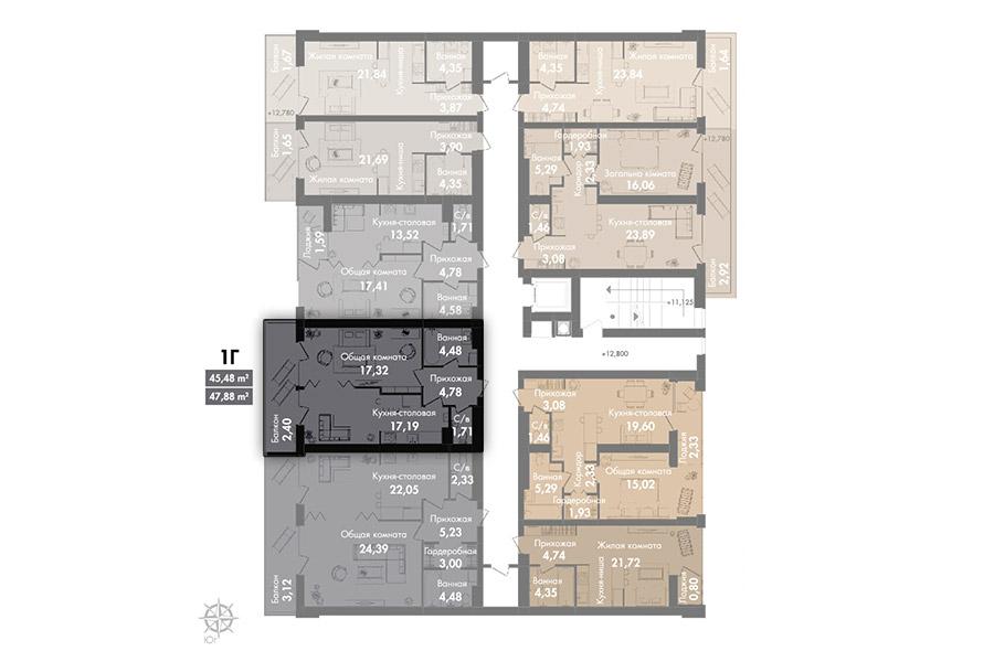 Квартира 1Г, секція 2, поверх 6