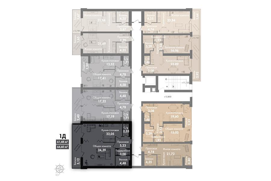 Квартира 1Д, секція 2, поверх 6