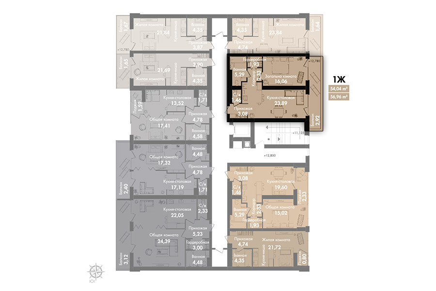 Квартира 1Ж, секція 2, поверх 6