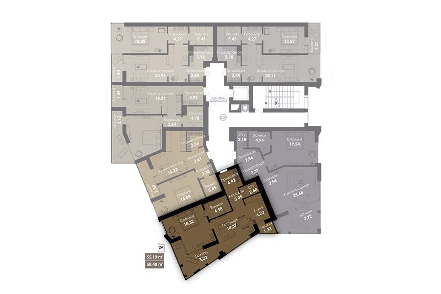 Квартира 2А, секція 1, поверх 2-8
