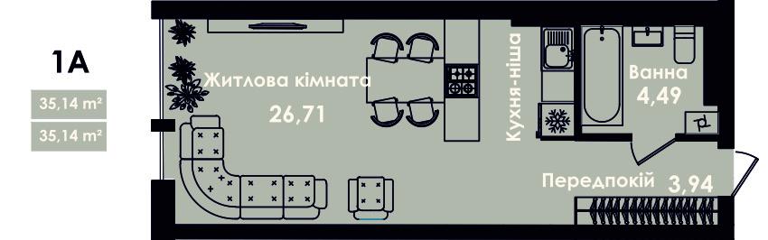 Квартира 1Б, секція 4, поверх 2, 4, 6, 8