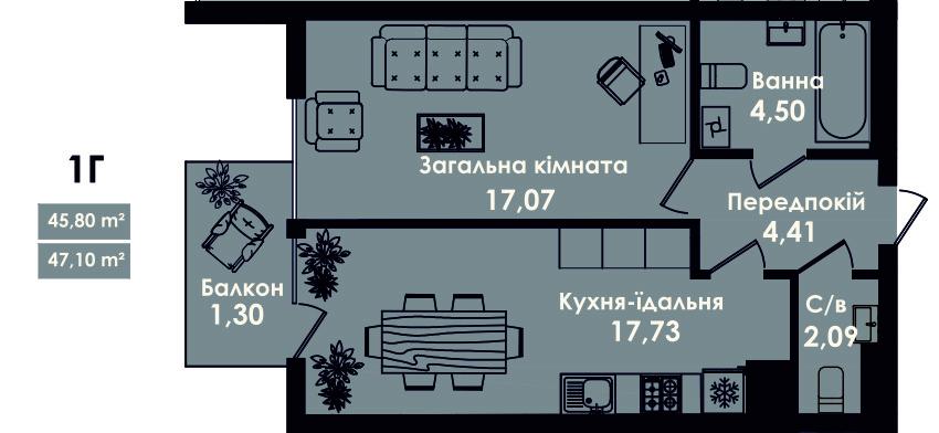 Квартира 1Г, секція 4, поверх 2, 4, 6, 8