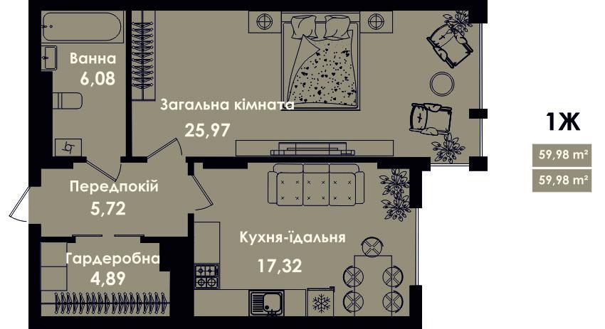 Квартира 1Ж, секція 4, поверх 2, 4, 6, 8