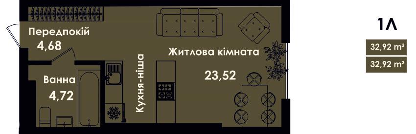 Квартира 1Л, секція 4, поверх 2, 4, 6, 8