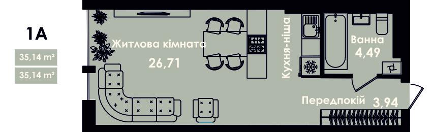 Квартира 1А, секція 4, поверх 3, 5, 7
