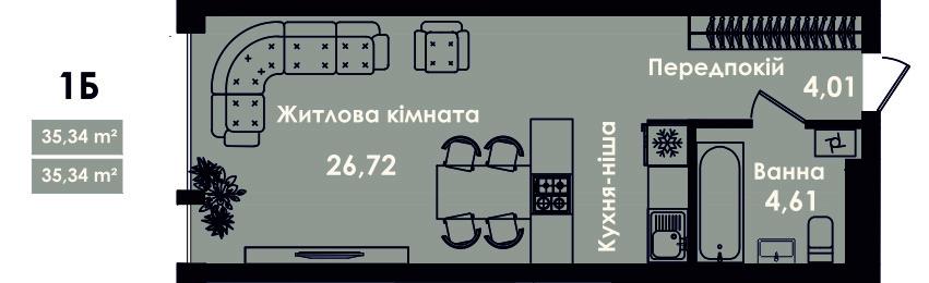 Квартира 1Б, секція 4, поверх 3, 5, 7