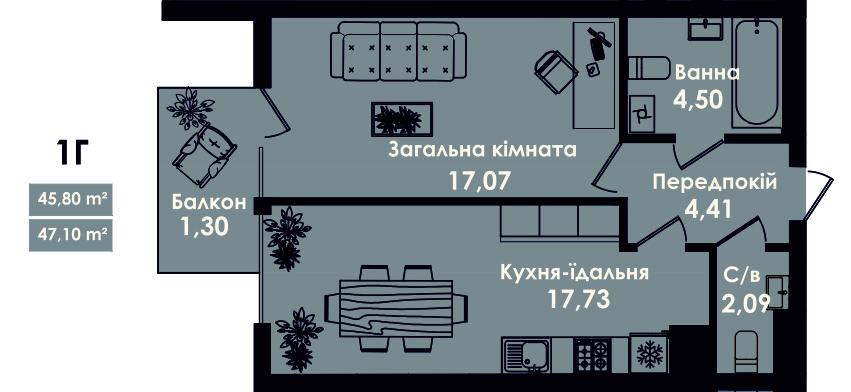 Квартира 1Г, секція 4, поверх 3, 5, 7