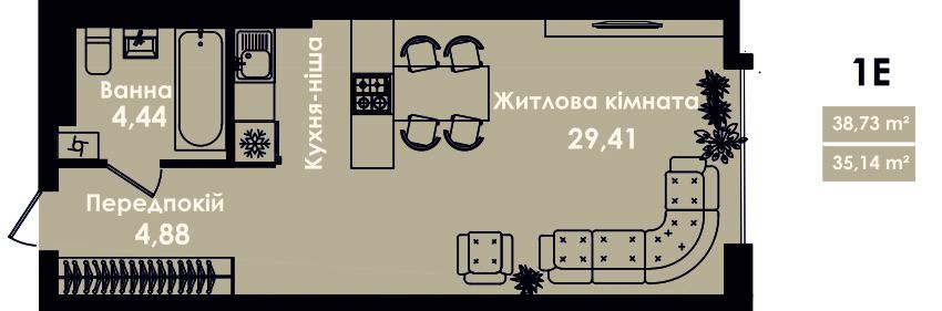 Квартира 1Е, секція 4, поверх 3, 5, 7