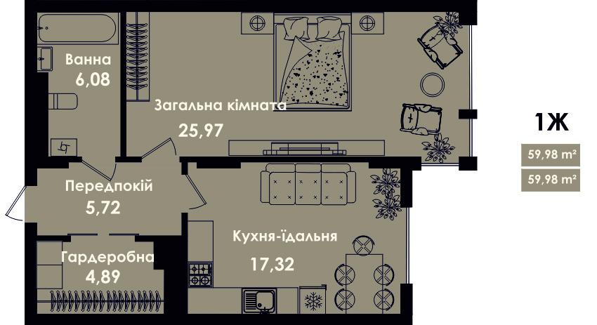 Квартира 1Ж, секція 4, поверх 3, 5, 7