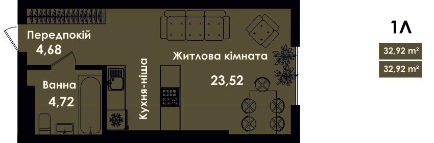 Квартира 1Л, секція 4, поверх 3, 5, 7