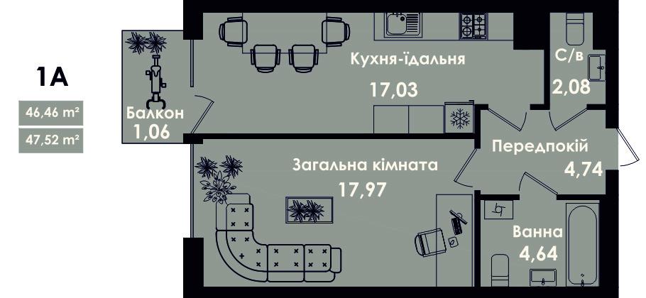 Квартира 1А, секція 5, поверх 2, 4, 6, 8