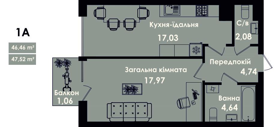 Квартира 1А, секція 5, поверх 3, 5, 7