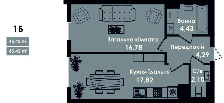 Квартира 1Б, секцыя 5, поверх 2, 4, 6, 8