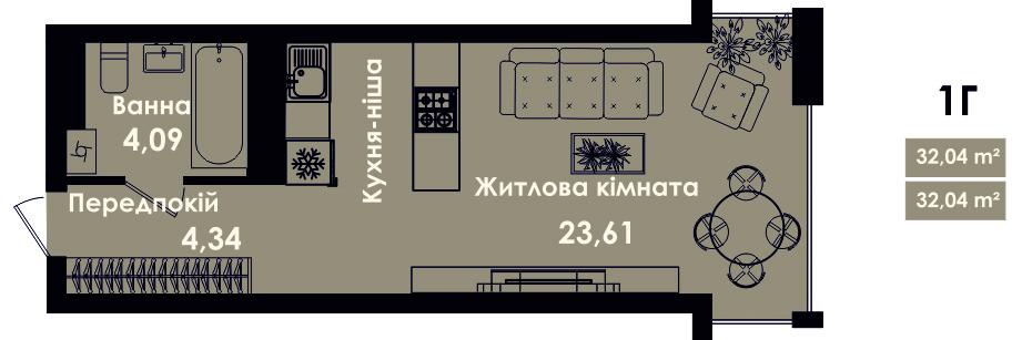 Квартира 1В, секція 5, поверх 2, 4, 6, 8