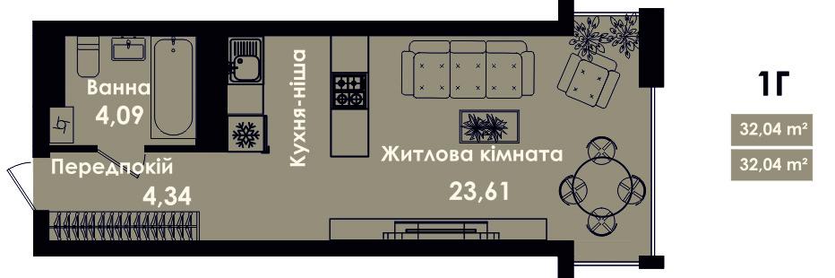 Квартира 1Г, секція 5, поверх 3, 5, 7
