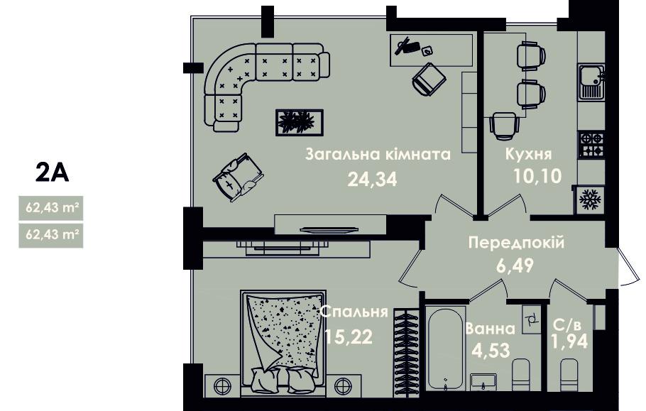 Квартира 2А, секція 5, поверх 2, 4, 6, 8